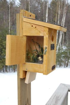Blue Bird House with Side View