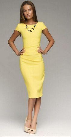 2015 elegante amarillo medias vestido ajustado marca de gama alta del verano de la aptitud paquete hip solid lápiz mujeres se visten de en Vestidos de Moda y Complementos Mujer en AliExpress.com   Alibaba Group