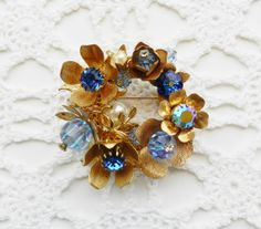 Vintage Brooch  Beaded Flower Power Shades of by SparklyKreations, $20.00