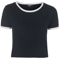 TOPSHOP Contrast Trim Tee ($19) ❤ liked on Polyvore featuring tops, t-shirts, crop top, shirts, tees, navy blue, navy blue crop top, topshop shirt, crop tee and navy crop top
