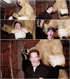 Tony , fighting a large Teddy Bear, Ho Ho, so Funny