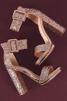 Shop This stunning platform heel features a sparkling glitter design, covered low platform, and chunky wrapped heel. Fancy Shoes, Pretty Shoes, Me Too Shoes, Cute Heels, Shoes Heels, Prom Heels, Heeled Sandals, Stiletto Heels, Homecoming Shoes