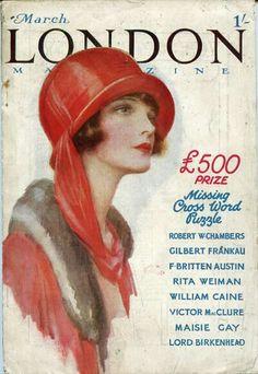 Mar 1925 London Magazine vintage cover Vintage Artwork, Vintage Prints, Vintage Ads, Vintage Images, Vintage Posters, Vintage Romance, Vintage Illustrations, Vintage Girls, Arte Fashion