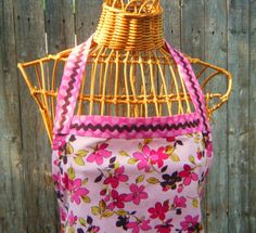 Apron Rose Pink Floral and Polka Dot Brown Rick by LilacCorners