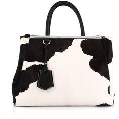 Pre-Owned Fendi 2Jours Handbag Calf Hair Medium ($850) ❤ liked on Polyvore featuring bags, handbags, black and white, man bag, hand bags, fendi purse, tote handbags and fendi tote