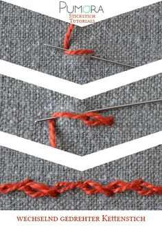Sticken Tutorial: versetzt gedrehter Kettenstich