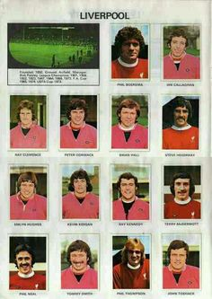 Liverpool stickers in 1971-72.