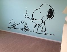 snoopy murals on walls | Snoopy Peanuts Wall Decal Vinyl Wall Decor Kids Wall Art Nursery Decal
