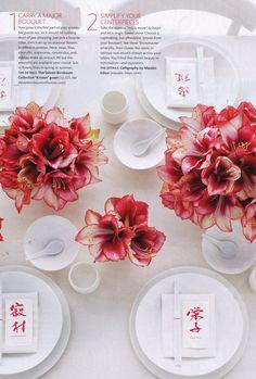 stunning amaryllis flower arrangement #camillestyles #florals #red #white #marthastewartweddings