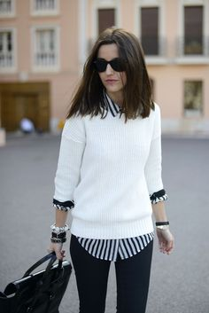 Street style | White sweater over striped blouse