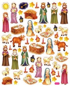 Nativity Scene Sticker • Away in a Manger • Away a Manger Stickers • Religious Sticker • Christmas • Card Making, DIY, Paper Craft (SK4184)