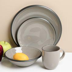 Red Vanilla Hampshire Grey 16-piece Dinnerware Set   Overstock.com Shopping - The Best Deals on Casual Dinnerware