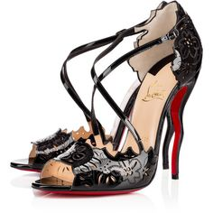 Christian Louboutin Enchantee ($1,045) ❤ liked on Polyvore featuring shoes, christian louboutin, louboutin, heels, black, floral pattern shoes, black high heel shoes, black patent shoes, floral print shoes and patent leather shoes
