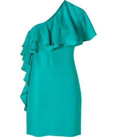 Cactus One-Shoulder Ruffled Dress. I'm loving the one shoulder dresses this summer!