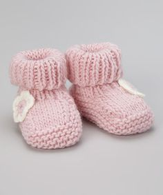 Loving this Blossoms & Buds Pink Floral Crochet Booties on #zulily! #zulilyfinds