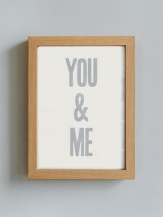 You and Me print - letterpress print, valentines gift, vintage type poster