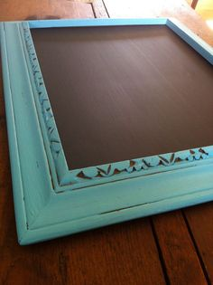 Hand Painted Turquoise Chalkboard 11x13 Unique Upcycled Frame.  Custom sizes available. $40.00, via Etsy.