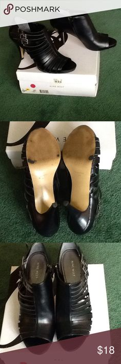 """Nine West Strappy 3 buckle Shootie Black faux leather strappy bootie/ shoe- tie. Worn once, comfortable, i just cant wear heels. About 4"""" high. Size 10, named NW Hamish. Nine West Shoes"""