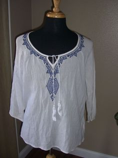 Old Navy White & Blue Peasant Blouse Size XL #OldNavy #Peasant