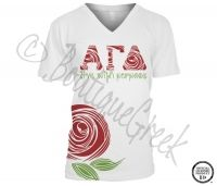 Alpha Gamma Delta Rose Letter Tee - ΑΓΔ Collection. Design Exclusive to BoutiqueGreek.com