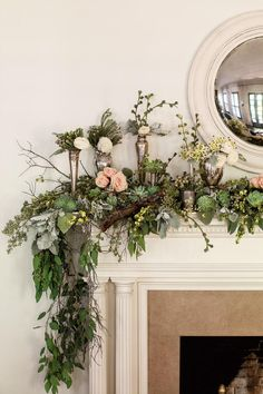Swag the Mantel - 3 Ways with Christmas Greenery - Southernliving. The antiqued convex mirror hung on chalky walls influenced Sybil's frosty palette. A collection of fluted vases, julep cups, and chalices makes it easy to display (and replace) choice blooms throughout the season. The foliage base will take you well past New Year's