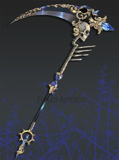 This scythe features skulls, bones, gems/jewels, intricate gold designs and carvings, an hourglass, some dark polished metal or stone, and a faint glow. these may mean that the scythe possesses the elements or powers of death, light, darkness, and time (A.K.A. Necromancy, Luminomancy, Noctromancy, and Chronomancy).