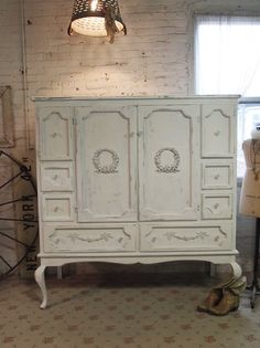 Painted Cottage Chic Shabby White Vintage French Armoire AM20. $795.00, via Etsy.