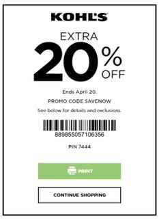 kohls 20 pick a day coupon