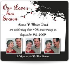 Anniversary Invitation Magnets - Our Love Has Grown