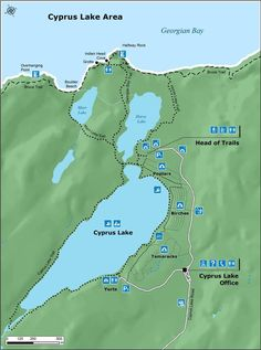 Bruce Peninsula NP, Canada - Cyprus Lake Campground Map, trails to the grotto Tobermory Canada, Tobermory Ontario, Lake Camping, Camping Spots, Family Camping, National Parks Map, Parc National, Bushcraft, Ontario Place