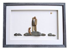 Pebble art couple and dog Dog lovers gift by PebbleArtDream