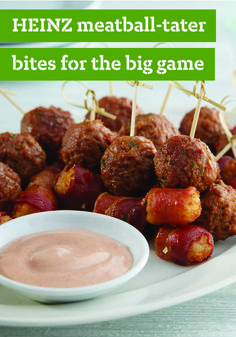 HEINZ Meatball-Tater Bites – These appetizers score big with the home crowd — complete with tater tots, bacon, and meatballs. And just when you think the game is over, think again! We suggest serving these with a delicious dip made with mayo, ketchup, Worcestershire sauce, and more. Touchdown!