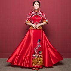Chinese Bride Dress Style 3 - Wedding Chinese Bride, Cheongsam, Bridal Looks, Fashion Dresses, Sari, Costumes, Traditional, Wedding Dresses, Collection