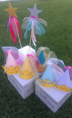 DIsney Princess party hats and wands- I can create any Disney Princess you'd like- visit my Etsy shop at etsy.com/shop/magicalboutique