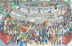 2015 Rugby World Cup Twickenham Stadium (Where's Wally Style Image) Twickenham Stadium, Wheres Wally, Win Tickets, Storyboard Artist, Rugby World Cup, Illustrators, City Photo, Campaign, Cards