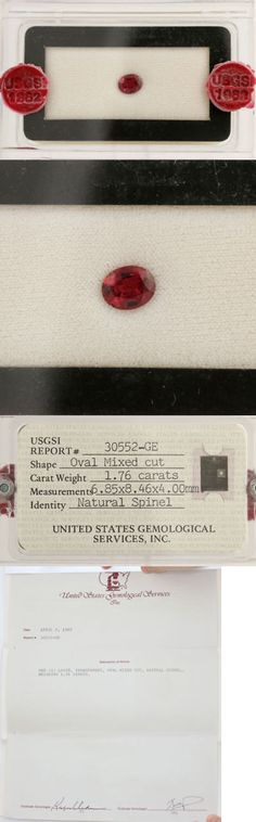 Spinel 110873: 1.76Ct Loose Spinel Gemstone Usgsi Report - Oval Mixed Cut Red -> BUY IT NOW ONLY: $849.99 on eBay!
