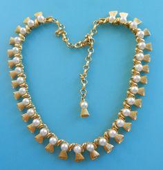 Romantic gold tassel and white pearls choker by RAKcreations
