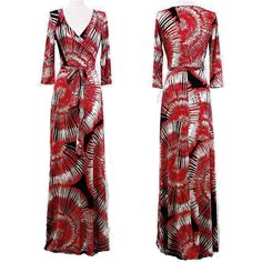 RED TAUPE & BLACK ABSTRACT Jersey MAXI DRESS Faux Wrap LONG Skirt BOHO vtg S-M-L #tamarstreasures #WrapDress #Cocktail