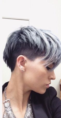 Silver pixie with undercut                                                                                                                                                                                 More
