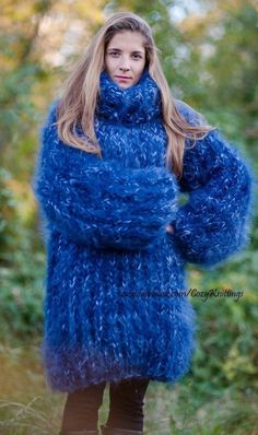 Mohair Sweater Handmade Heavy Thick Blue Marbled Turtleneck Unisex One Size