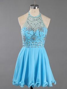 Blue Sleeveless Mini Halter Chiffon Beading Crystal Short Homecoming Dress sold by floralprintdress. Shop more products from floralprintdress on Storenvy, the home of independent small businesses all over the world. Vintage Homecoming Dresses, Prom Party Dresses, Evening Dresses, Graduation Dresses, Bridesmaid Dresses, Prom Gowns, Graduation Gifts, Occasion Dresses, Vintage Dresses