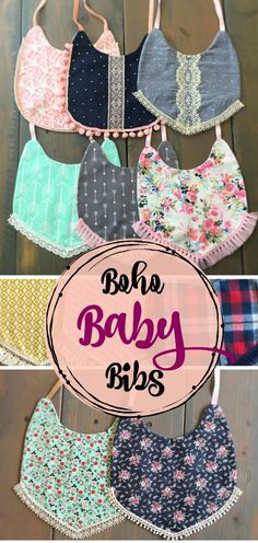 These boho baby bibs are so unique and adorable! So much cuter than your average baby bib. They are a bit more girly with the floral and arrow print and the fringe around the bottom. Perfect for baby girl! #ad