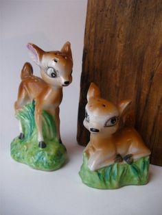 Vintage Deer Salt and Pepper Shakers Japan Ceramic Fawn