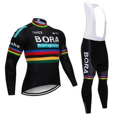 2018 Winter TEAM BORA New thermal fleece Cycling JERSEY Bike Pants set mens  9D pads Ropa. be9eb12ee