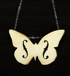 Violin F Hole Necklace Butterfly.