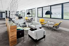 Stick with a central design style to keep the look consistent Painting Wood White, Summer Office, Office 2020, Theme Color, Lounge Seating, Office Interiors, Soft Furnishings, White Walls, House Colors