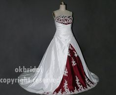 Hey, I found this really awesome Etsy listing at http://www.etsy.com/listing/127847368/strapless-red-and-white-wedding-dress-a
