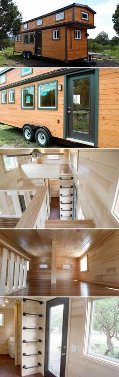 Built by Tiny Treasure Homes for a family of four, this custom 30-foot craftsman style tiny house features two large sleeping lofts, one with a privacy divider for the kids.