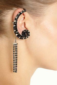 Etro|Rhodium-plated Swarovski crystal ear cuff|NET-A-PORTER.COM