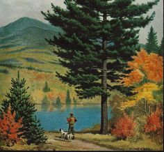 Walter A. Weber Tree Eastern White Pines Hunter Dog  - Vintage 1955 -  State tree Maine - Great to Frame